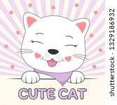 beautiful adorable face kitty.... | Shutterstock .eps vector #1329186932