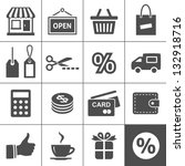 shopping icon set. simplus... | Shutterstock .eps vector #132918716