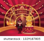 great circus show  tiger on a...   Shutterstock .eps vector #1329187805