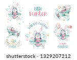 hand drawing fly cute easter... | Shutterstock . vector #1329207212