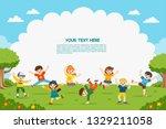 children's activities. happy... | Shutterstock .eps vector #1329211058