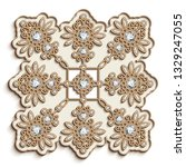 vintage gold embroidery pattern ... | Shutterstock .eps vector #1329247055