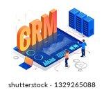 isometric crm web banner....   Shutterstock .eps vector #1329265088