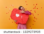 pretty caucasian girl enjoying... | Shutterstock . vector #1329273935
