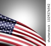 america flag of silk with... | Shutterstock . vector #1329276542