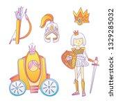 medieval cute cartoon princess... | Shutterstock .eps vector #1329285032