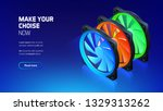 computer fan with color led... | Shutterstock .eps vector #1329313262