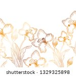pattern flowers and leafs... | Shutterstock .eps vector #1329325898
