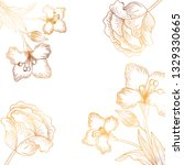 pattern flowers and leafs...   Shutterstock .eps vector #1329330665