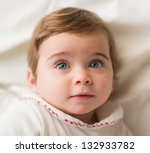 Close-up Of Baby, Indoors - stock photo