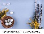 easter eggs in nest and spring...   Shutterstock . vector #1329358952