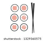 chopsticks with sushi rolls.... | Shutterstock .eps vector #1329360575