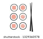 chopsticks with sushi rolls.... | Shutterstock .eps vector #1329360578