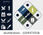 battle icon set. 13 filled... | Shutterstock .eps vector #1329372518