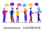 people with speech bubbles.... | Shutterstock .eps vector #1329382928