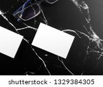 photo of white business cards... | Shutterstock . vector #1329384305