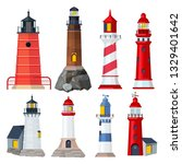 lighthouses collection. night...   Shutterstock .eps vector #1329401642
