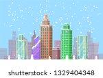 snowy cityscape bright poster...   Shutterstock . vector #1329404348