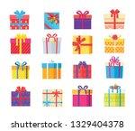 set of gift box presents... | Shutterstock . vector #1329404378