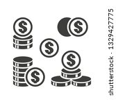 monochrome set coins vector... | Shutterstock .eps vector #1329427775