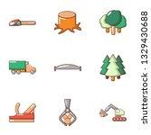 tree felling icons set. flat... | Shutterstock . vector #1329430688