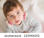 Close-up Of Cute Baby, Indoors - stock photo