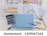architectural sketch of house... | Shutterstock . vector #1329467165