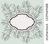 victorian frame with branch and ... | Shutterstock .eps vector #1329469688