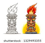 tiki traditional hawaiian... | Shutterstock .eps vector #1329493355