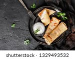 crepes with cottage cheese ... | Shutterstock . vector #1329493532