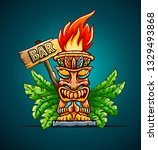 banner with tiki ethnic... | Shutterstock .eps vector #1329493868