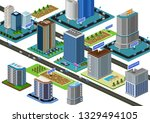 vector 3d relistic city in... | Shutterstock .eps vector #1329494105