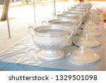 thai style aluminum rice bowl... | Shutterstock . vector #1329501098