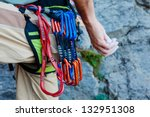 Climber With His Equipment On...