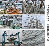 Set Of Images Of Sailing And...