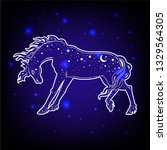 dark beautiful horse. magic... | Shutterstock .eps vector #1329564305