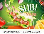 submarine sandwich ads with... | Shutterstock .eps vector #1329576125