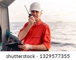 marine deck officer or chief... | Shutterstock . vector #1329577355