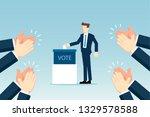 businessman putting voting paper | Shutterstock .eps vector #1329578588