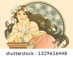 Mucha Style Goddess Holding...