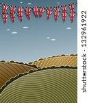 union jack bunting on landscape ...   Shutterstock .eps vector #132961922