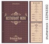 restaurant menu design template ... | Shutterstock .eps vector #132963302