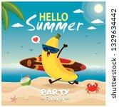 vintage summer poster design... | Shutterstock .eps vector #1329634442