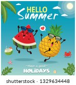 vintage summer poster design... | Shutterstock .eps vector #1329634448