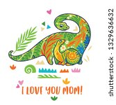 i love you mom. baby and mom... | Shutterstock .eps vector #1329636632