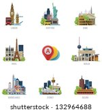 vector global travel... | Shutterstock .eps vector #132964688