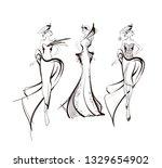 stylish fashion models. pretty... | Shutterstock .eps vector #1329654902