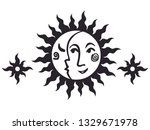 sun and moon. vector hand drawn ...   Shutterstock .eps vector #1329671978