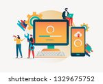 system updates with people... | Shutterstock .eps vector #1329675752