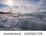 baikal is a lake of tectonic... | Shutterstock . vector #1329681728
